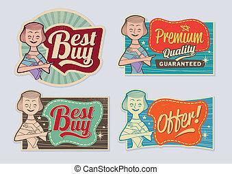Etiquetas antiguas de publicidad