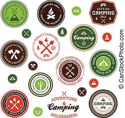 etiquetas, campamento