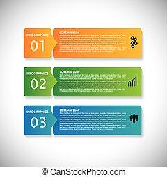 Etiquetas coloridas con secuencia de pasos - vector de banderas informativas. Este gráfico simple puede ser usado en materiales de marketing, sitios web  ⁇  Diseños web, presentaciones de negocios, publicidad, etc