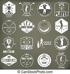 Etiquetas de golf, placas y emblemas