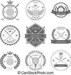 Etiquetas de golf y iconos. Vector