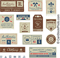 Etiquetas de ropa antiguas