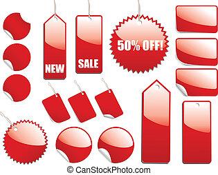 etiquetas de venta roja