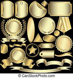 Etiquetas doradas y plateadas (vector)