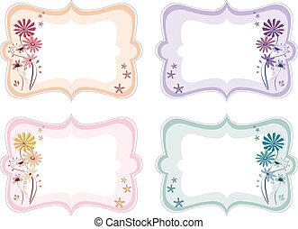 Etiquetas florales de diferentes colores
