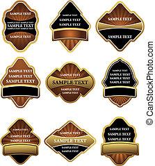 etiquetas, marrón, conjunto, oro