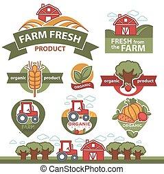 Etiquetas para productos de mercado agrícola.
