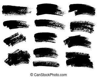 etiquetas, pintado, plano de fondo, tex, negro, rayas, pintura, set., grunge