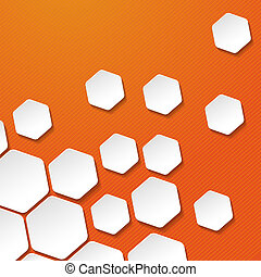 etiquetas, rayas, papel, plano de fondo, naranja, blanco, hexágono