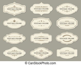 etiquetas, retro, vendimia, marcos, fronteras, florido
