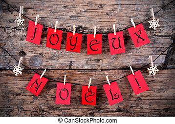 Etiquetas rojas con Joyeux noel