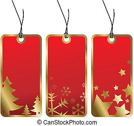 Etiquetas rojas de Navidad con fronteras doradas