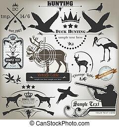 etiquetas, vendimia, conjunto, hunting.
