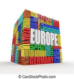 Europa. Caja de nombres de países europeos