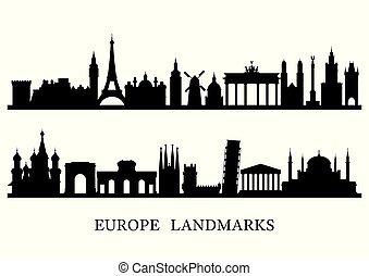 europa, contorno, señales, silueta