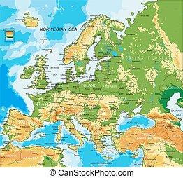 Europa, mapa físico