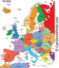 europa, países, editable, nombres
