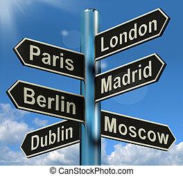europa, parís, madrid, viaje, berlín, londres, poste indicador, exposiciones, turismo, destinaciones