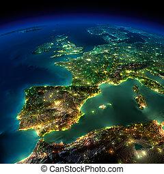 europa, pedazo, portugal, -, francia, noche, españa, earth.