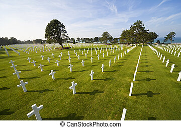 europa, playa, filas, omaha, cementerio, cruces, norteamericano, francia, colleville-sur-mer, 2, mundo, blanco, guerra, normandía