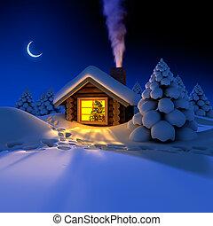 eve., alrededor, nevoso, senderos, nieve, año, choza, pequeño, bosque, cabaña, nuevo, hada