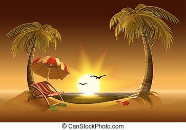 Evening Beach. Mar, sol, palma