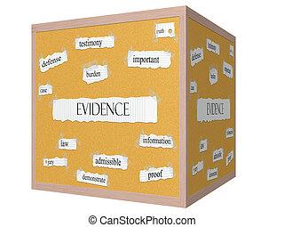 Evidencia 3D cubo de tapicería concepto de palabra