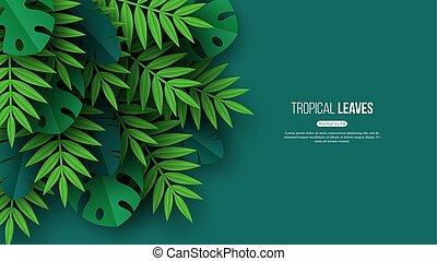 Exóticas hojas de palma tropicales de la selva. Diseño floral de verano con color verde fondo, ilustración vectorial.