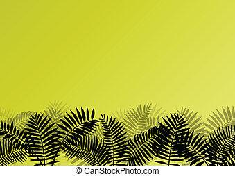 Exóticas plantas forestales de la selva, hojas y hierba detalladas ilustraciones de paisajes vector de fondo para el poster