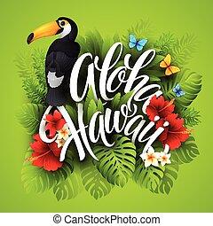exótico, letras, hawaii., aloha, mano, flowers., vector, ilustración