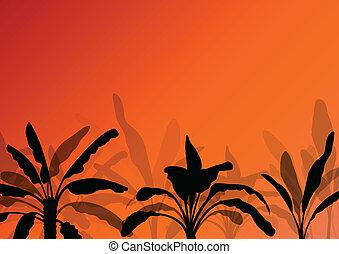 exótico, plantas, detallado, silueta, árbol, ilustración, plantación, vector, plano de fondo, plátano, paisaje