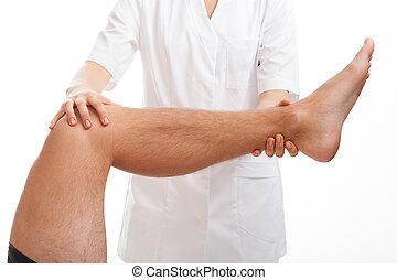 examen médico, pierna