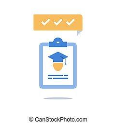 examen, sombrero, preparación, tosco, cheque, programa, portapapeles, graduación, entrenamiento, beca, conocimiento, educación, enrollment