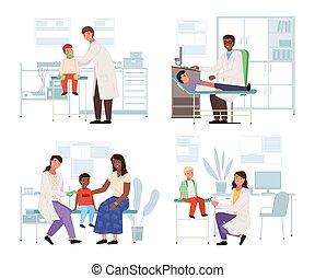 examina, conjunto, salud, patients., topic, doctor, niños, hospital, ilustraciones, cheque