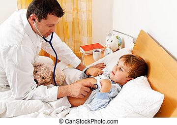 examina, doctor, casa, enfermo, call., child.