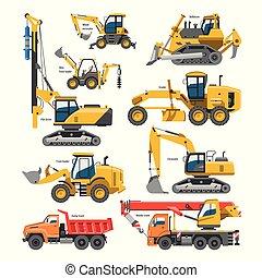 excavar, blanco, máquina, constructivo, vector, aislado, industria, ilustración, cavador, vehículos, construcción, cavar, excavación, o, pala, excavadora, conjunto, excavador, maquinaria