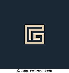 excepcional, aislado, vector, arquitectura, carta, g., geométrico, logo., monogram.