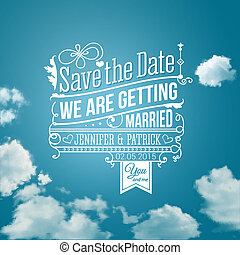 excepto, holiday., image., boda, invitation., vector, personal, fecha