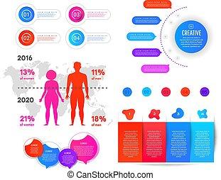 exceso, elemento, obesidad, mundo, infographic, información, weight., infographics, plano, mapa, hombre, graphics., mujer, gradiente