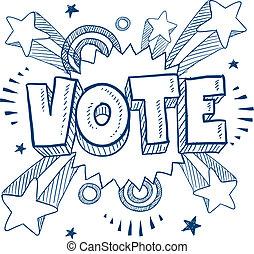 excitado, sobre, votación, bosquejo