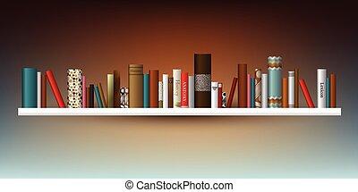 exclusivo, illustration., shelf., indoor., libro, librería