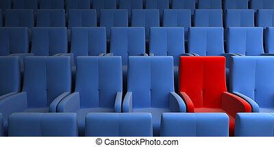exclusivo, uno, auditorio, asiento