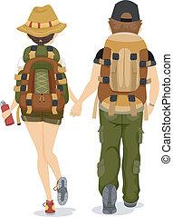 excursionismo, espalda, pareja, vista