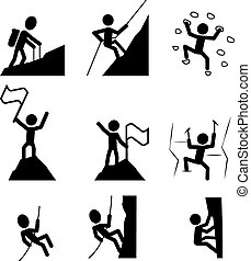 excursionismo, icon., vector, montañismo