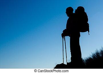 excursionismo, silueta, hombre