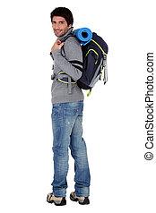 excursionista, mochila, macho