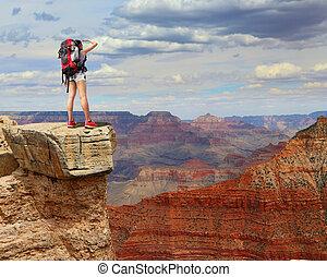 excursionista, montaña, mujer