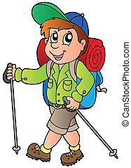 excursionista, niño, caricatura