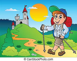 excursionista, niño, castillo, caricatura