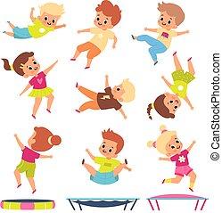 exercises., diferente, poses., niños, niños, vuelo, infantil, niños, gente, gimnasia, play., saltar, caricatura, joven, bote, activo, trampolines., fitness., juegos, vector, niñas